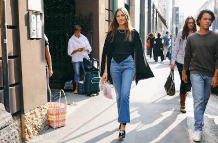 Georgia Tordini wearing Attico shoes and bag. Milan Fashion Week 2016. Credit: Vogue Magazine